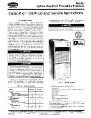 Carrier 58GSC 1SI Gas Furnace Owners Manual page 1