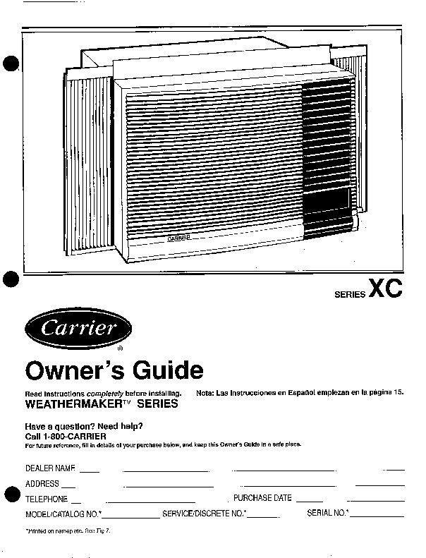 carrier 73xc 3si heat air conditioner manual rh filemanual com Sanyo Window Air Conditioner Filters carrier portable air conditioner owners manual