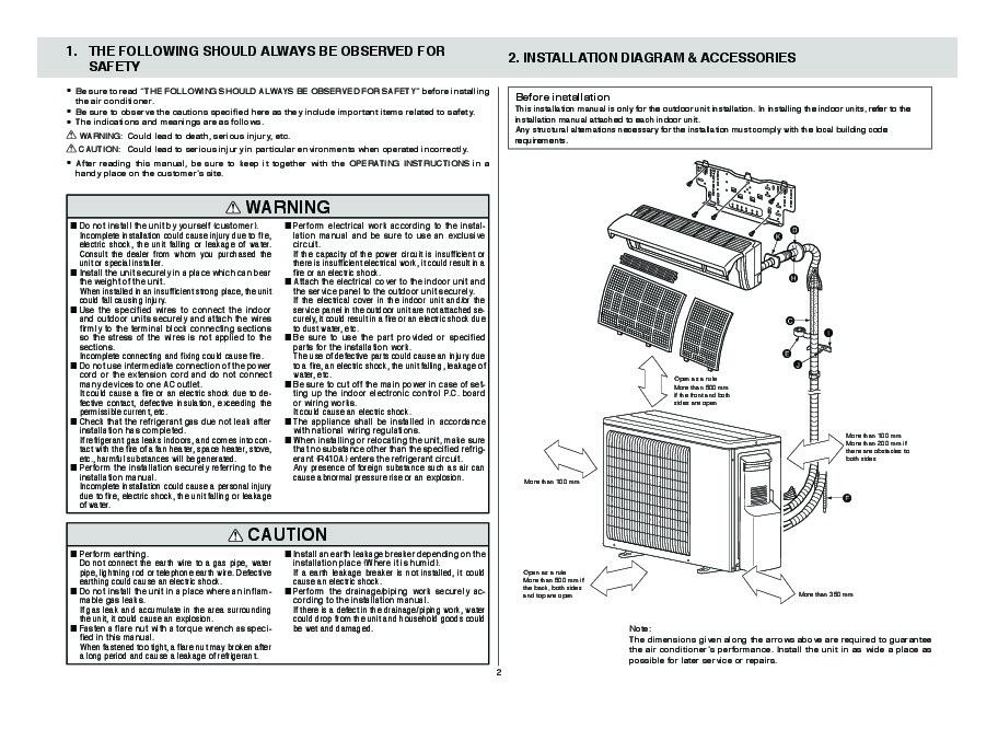 mitsubishi mxz 2a52va air conditioner installation manual rh filemanual com samsung air conditioner installation manual Heating and Air Conditioning Systems