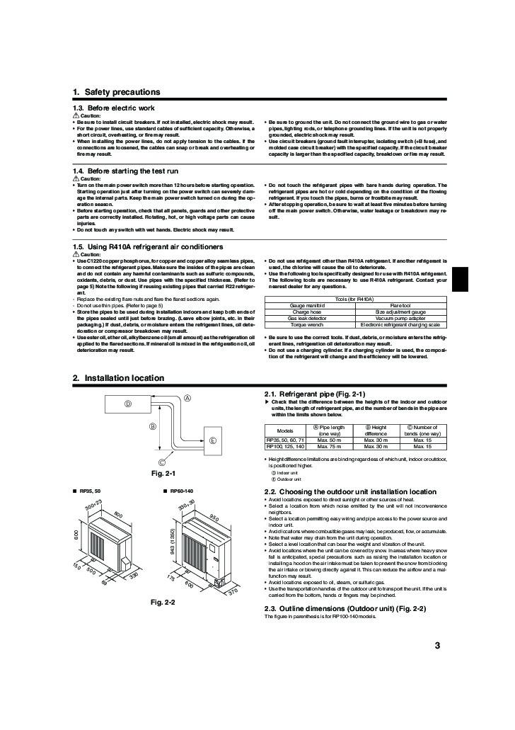 Mitsubishi Mr Slim Puhz Rp Ha2 Air Conditioner Installation Manual Rh  Filemanual Com Mitsubishi Electric Mr