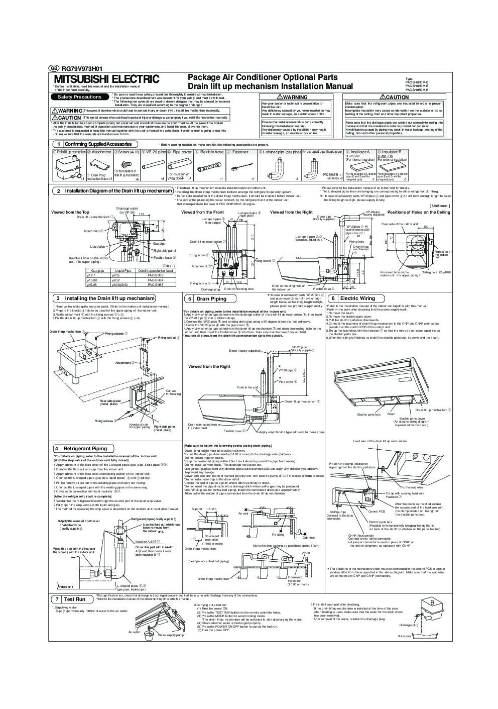 Mitsubishi Rg79v973h01 Air Conditioner Installation Manual