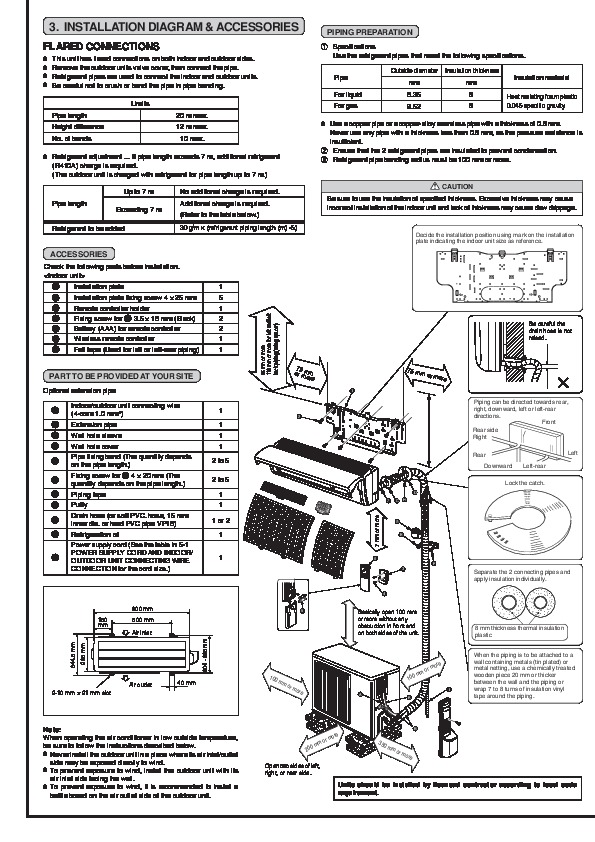 Mitsubishi MSZ FA25 FA35VA MUZ FA25 FA35VA Wall Air Conditioner Owners Installation Manual 2 mitsubishi msz fa25 fa35va muz fa25 fa35va wall air conditioner