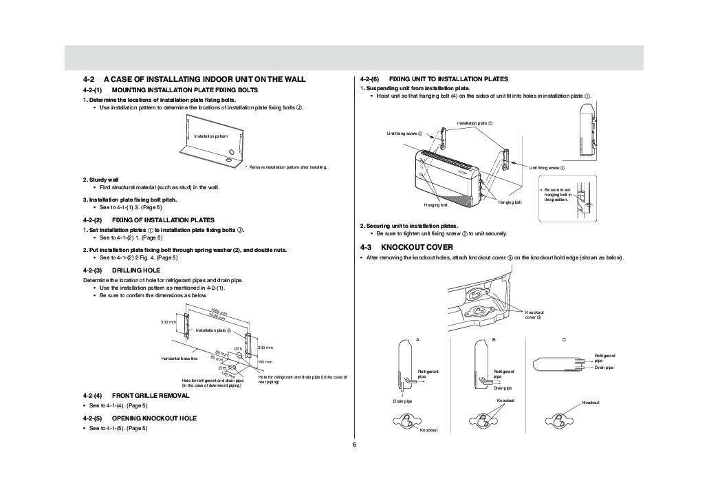 mitsubishi mcfh a24wv floor mounted air conditioner installation manual rh filemanual com wall mounted air conditioner manual Sanyo Wall Mounted AC Units