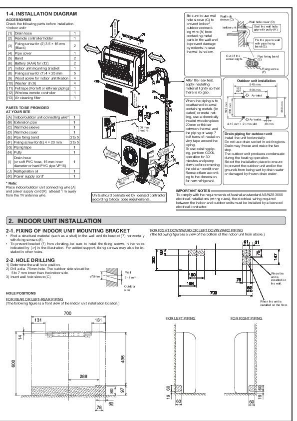 Mitsubishi JG79A145H03 Floor Mounted Air Conditioner Installation Manual
