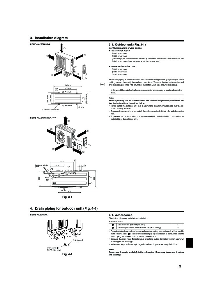 mitsubishi mr slim suz ka25 ka35 ka50 ka60 ka71va air conditioner installation manual