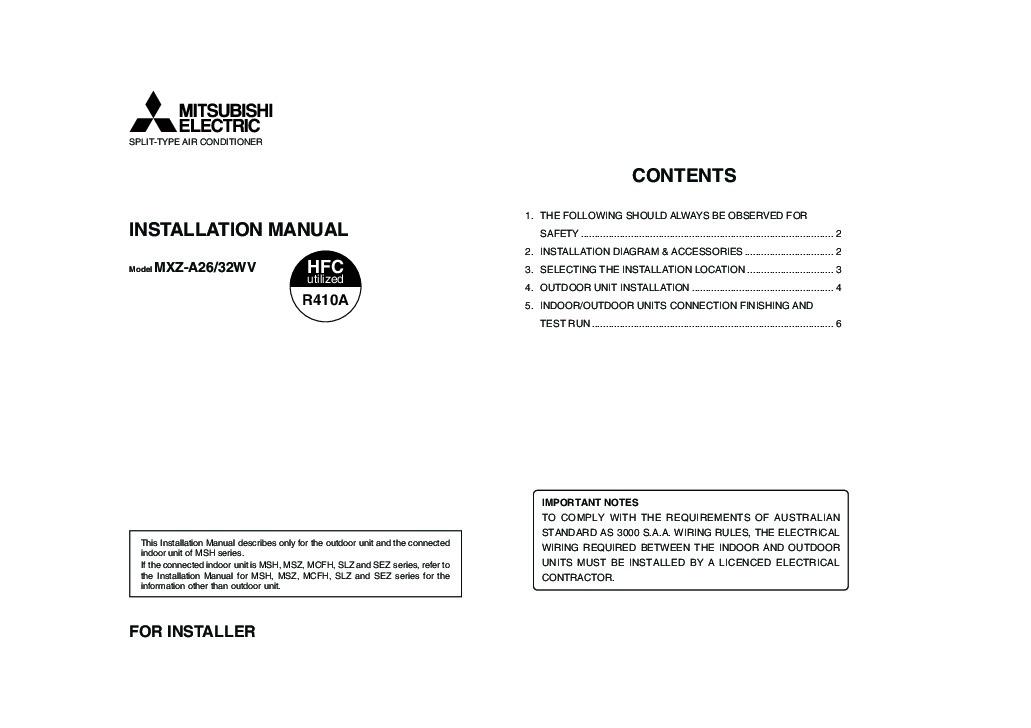 Prime Mitsubishi Mxz A26 32Wv Air Conditioner Installation Manual Wiring 101 Akebretraxxcnl