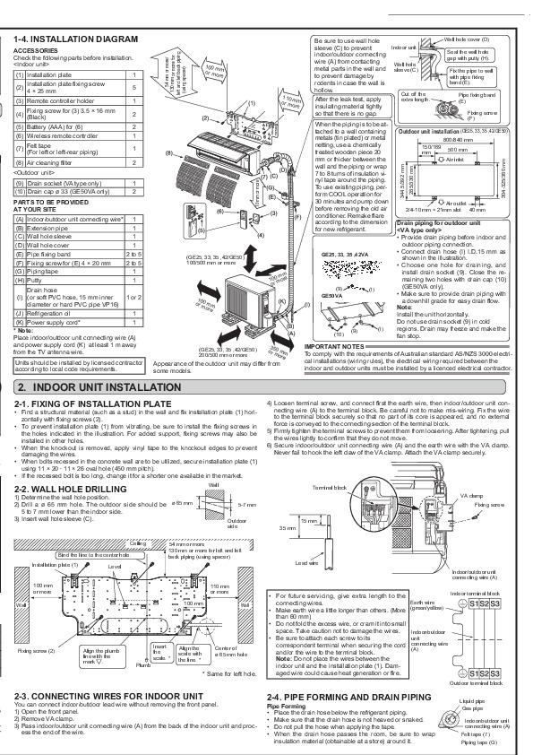 Mitsubishi JG79A152H03 Wall Air Conditioner Installation Manual