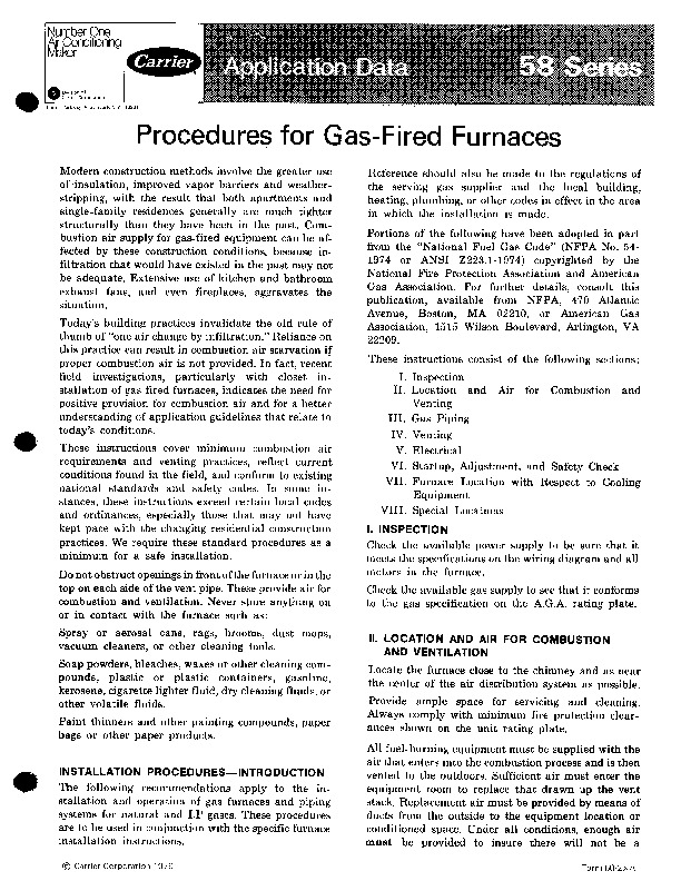 Carrier 58 Series 2xa Gas Furnace Owners Manual