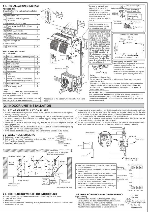 Mitsubishi JG79A241H01 Wall Air Conditioner Installation Manual