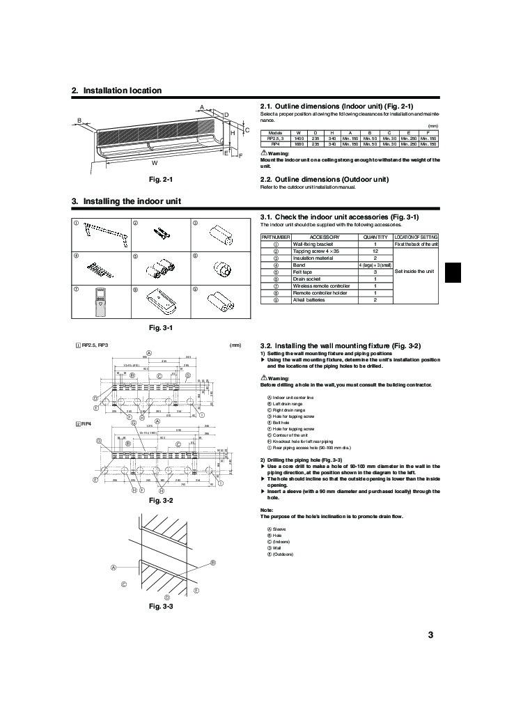 mitsubishi pka rp fal wall air conditioner installation manual rh filemanual com wall mounted air conditioner installation guide Wall Mounted AC and Heater