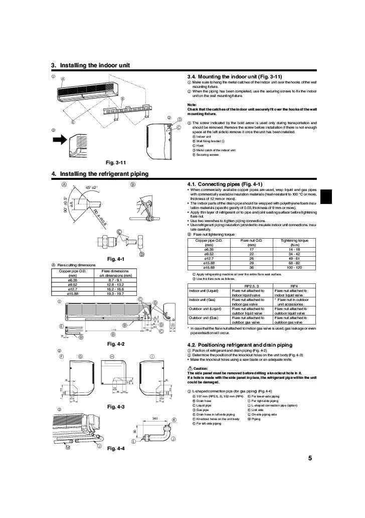 mitsubishi pka rp fal wall air conditioner installation manual rh filemanual com Wall Mounted AC Units wall mounted air conditioner installation guide