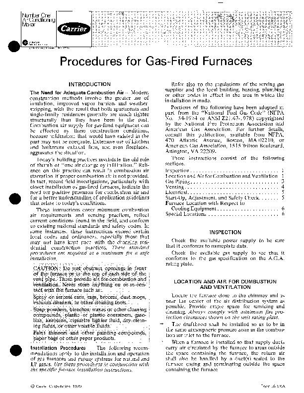 Carrier 58 Series 6xa Gas Furnace Owners Manual