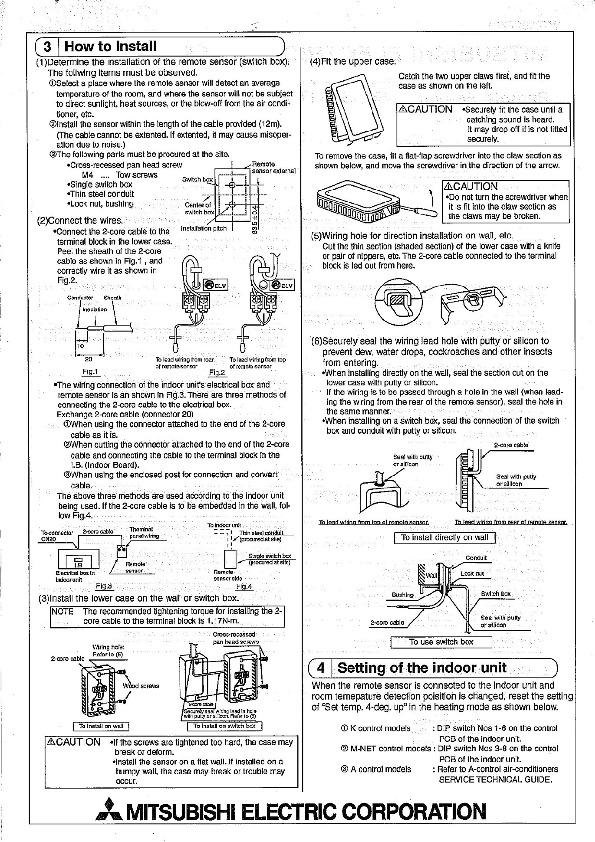 Mitsubishi Pac Se41tse Remote Sensor Air Conditioner Installation Manual
