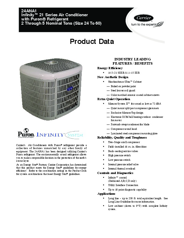 Infinity Air conditioner User manual